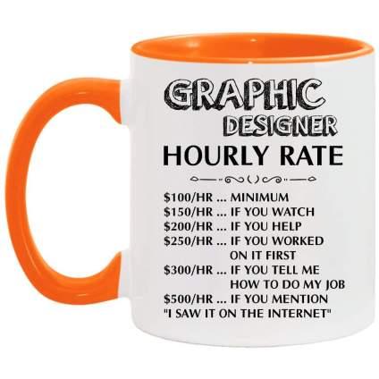 Orange and white funny graphic designer coffee cup