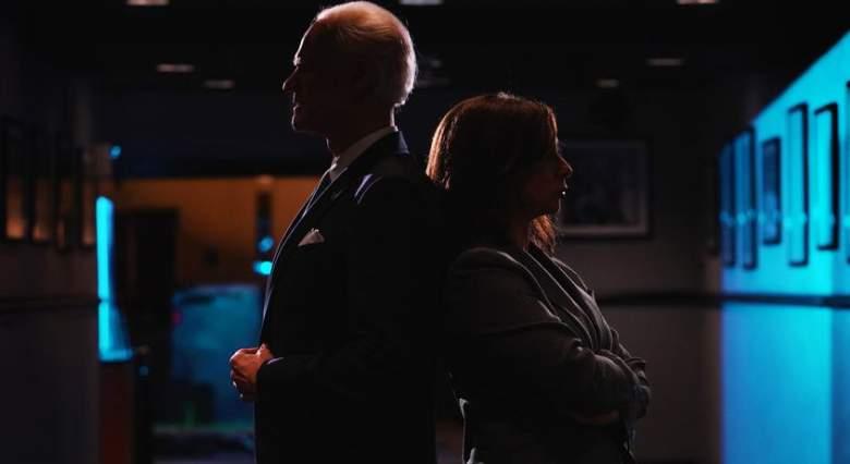 """Chris Rock"" Episode 1786 -- Pictured: (l-r) Jim Carrey as Joe Biden and Maya Rudolph as Kamala Harris during Promos on Tuesday, September 29, 2020"