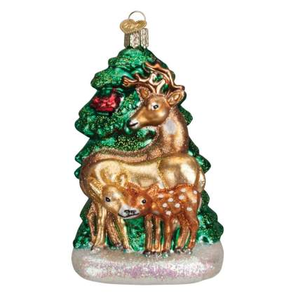 deer family blown glass ornament