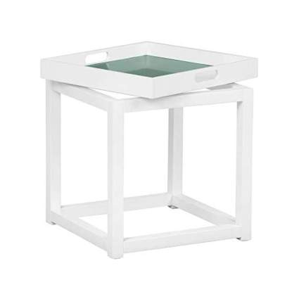 Pantone white and light blue side table