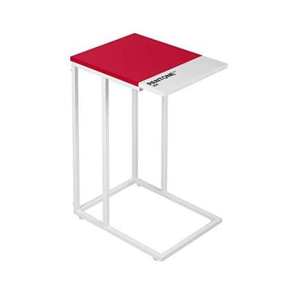 Red c-shaped end table
