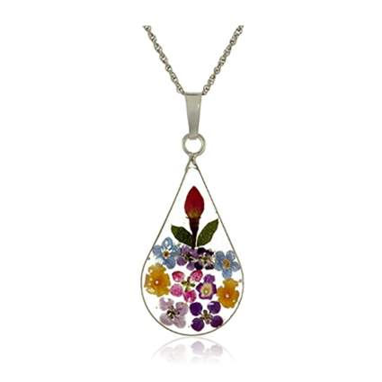 sterling silver pressed flower necklace
