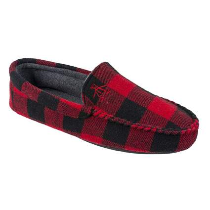 red plaid men's slippers