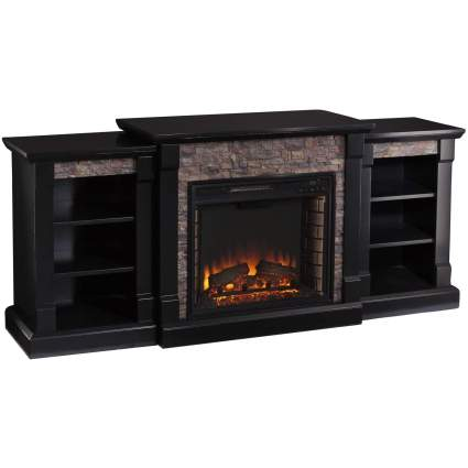 SEI Furniture Gallatin Faux Stone Electric Bookcases Fireplace