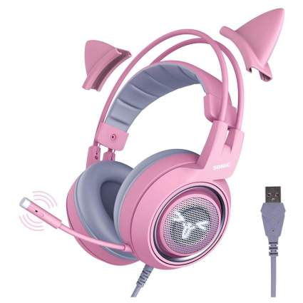 SOMIC G951 7.1 Surround Sound Pink Cat Ears Gaming Headset with Mic