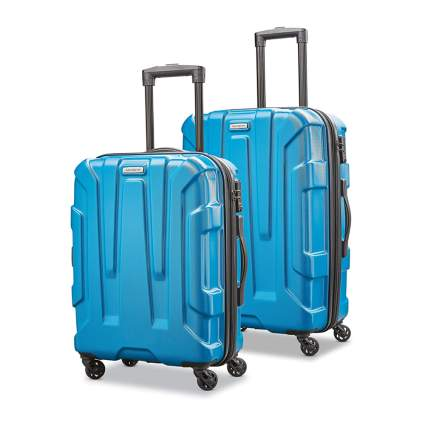blue hardside luggage