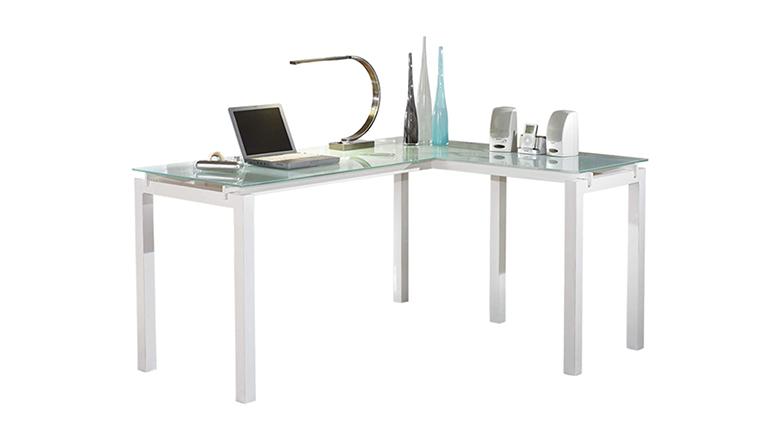 Signature Design by Ashley Baraga Glass Top L-Desk