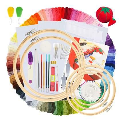 beginner's embroidery hoop kit