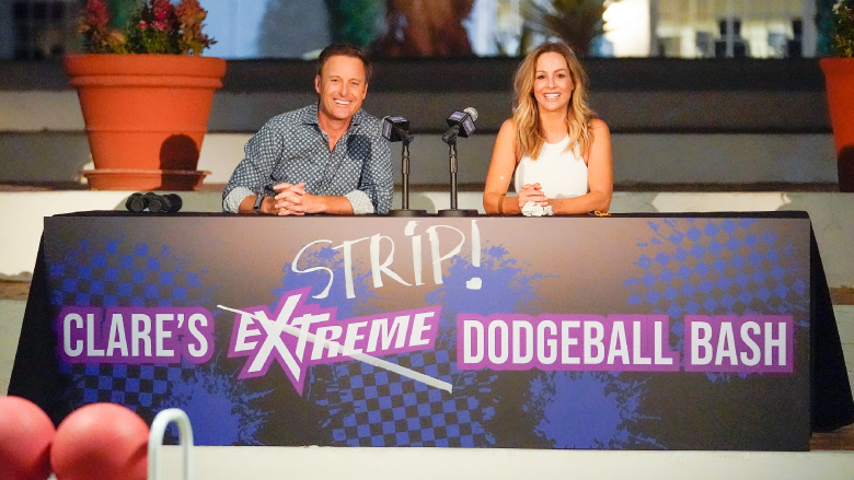Chris Harrison and Clare Crawley during a game of strip dodgeball