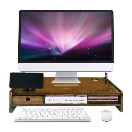 Bamboo monitor stand with monitor