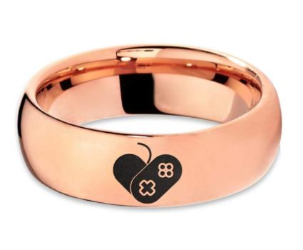 Video Game Love Heart Emoji Ring in 18k Rose Gold