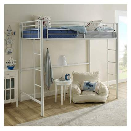 white metal loft bunk bed