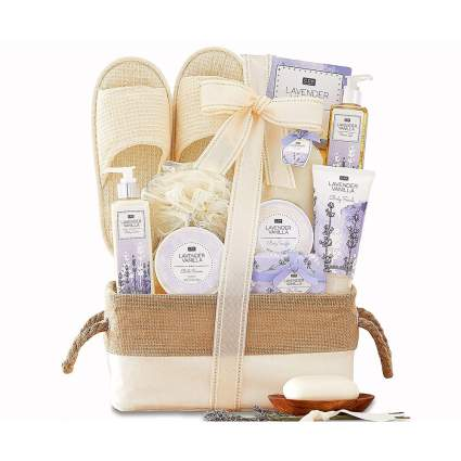 Lavender vanilla bath gift basket with slippers