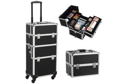 Black rolling cosmetic case