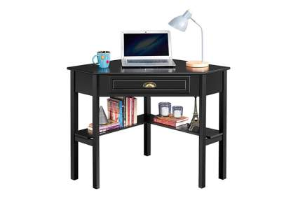 black wood corner desk