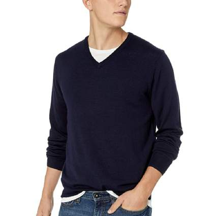 Goodthreads Men's Lightweight Merino Wool V-Neck Sweater