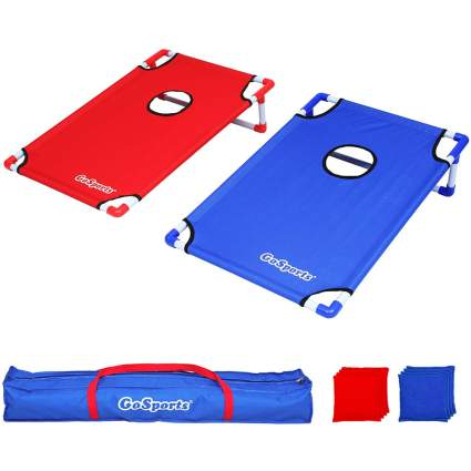 Blue and red cornhole set
