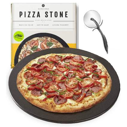 Heritage Ceramic Pizza Stone Pan and Cutter Wheel