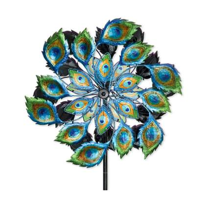 peacock feather wind spinner
