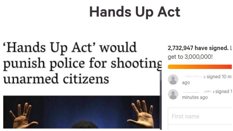 hands up, hands up act, hands up act petition, police shooting act, police shooting petition, heavy talis shelbourne