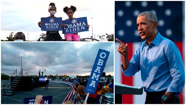 Obama Rally for Biden Crowd Photos