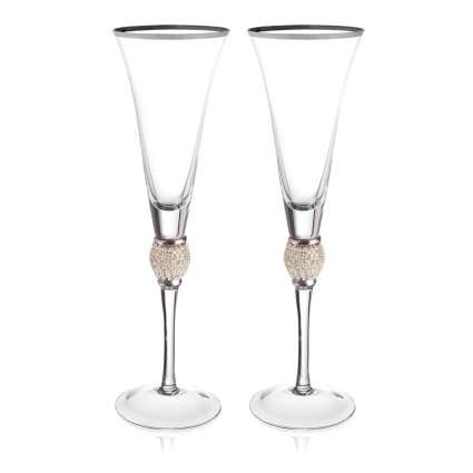 rhinestone studded champagne flutes