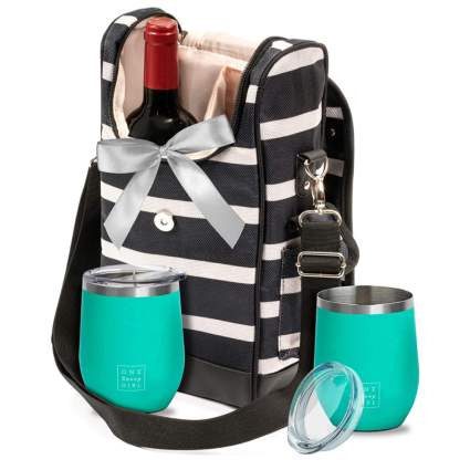 wine tote bag with stainless tumbers