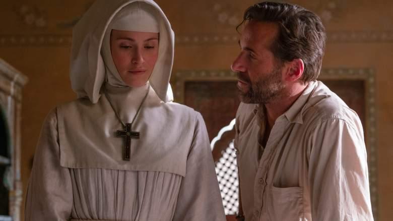 BLACK NARCISSUS -- Episode 1 -- Pictured: Gemma Arterton as Sister Clodagh, Alessandro Nivola as Mr. Dean.