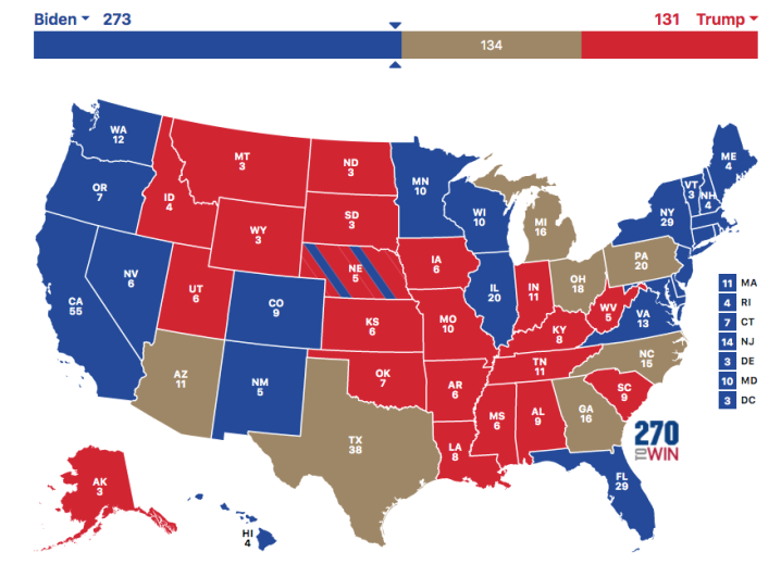 Electoral College map Joe Biden win
