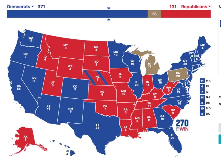 Joe Biden landslide electoral map