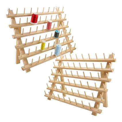 Wooden thread organizer rack