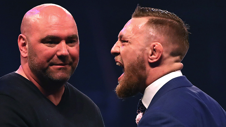 Dana White left, Conor McGregor right