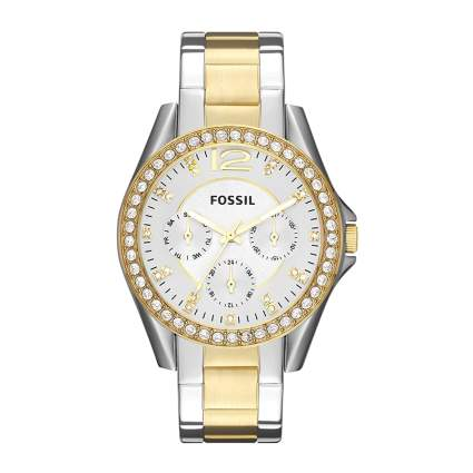 fossil womens two tone stainless watch