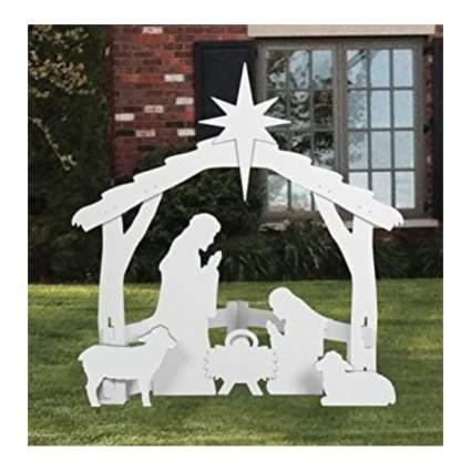white nativity scene with lambs