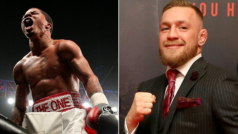 Boxer Gervonta Davis left, UFC Star Conor McGregor right