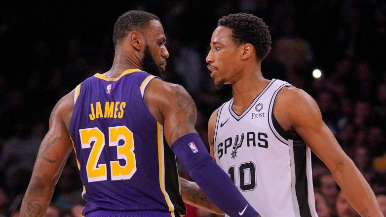 Lakers star LeBron James, at left, and DeMar DeRozan: future Lakers teammates?
