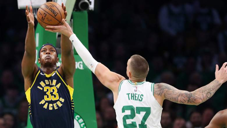Could Myles Turner of the Indiana Pacers (left) join the Celtics' Daniel Theis (right) in the Boston frontcourt?