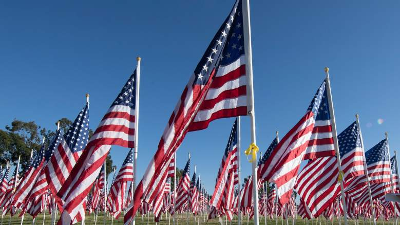 Thousands of flags are placed as a tribute to the memory of veterans of the US military
