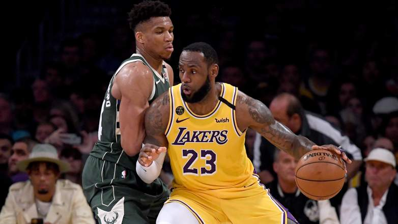 LeBron James (right) and the Lakers could face a much stiffer test in Giannis Antetokounmpo (left) and the Milwaukee Bucks.