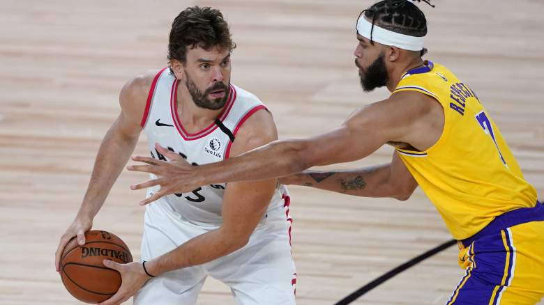 Marc Gasol, left, and potential future teammate JaVale McGee.