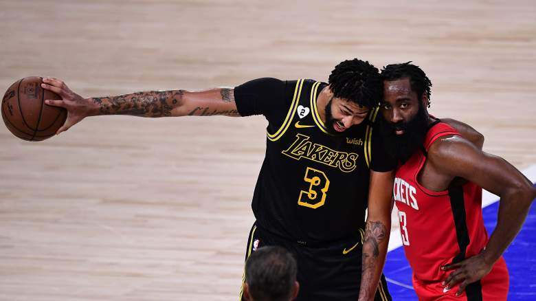 An exit from Houston by James Harden (right) would make things easier on Anthony. Davis and the Lakers