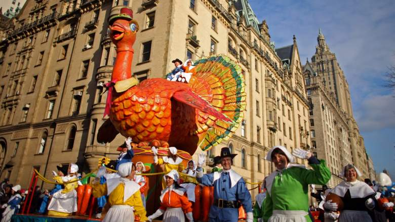 Parade participants guide a turkey float at the annual Macy's Thanksgiving Day Parade