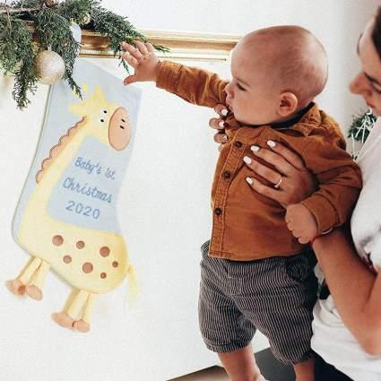 Giraffe Babys First Christmas Stocking
