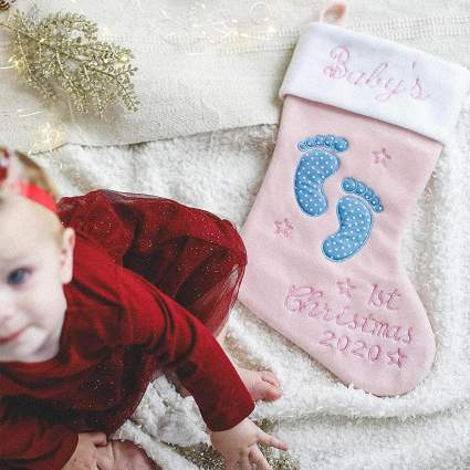 Heart's Sign First Christmas Stocking
