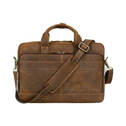 Jack&Chris Men's Genuine Leather Briefcase Messenger Bag