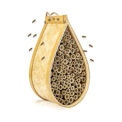 KIBAGA Mason Bee House - Handmade Natural Bamboo Bee Hive