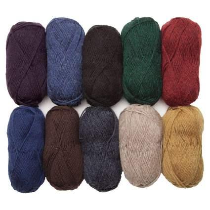 Dark colored balls of yarn