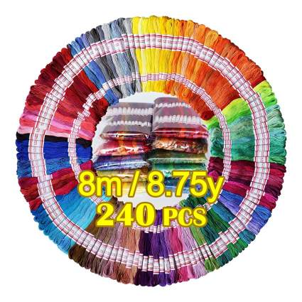 hundreds of colors of embroidery thread