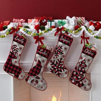 Lets Make Memories Buffalo Plaid Christmas Stockings