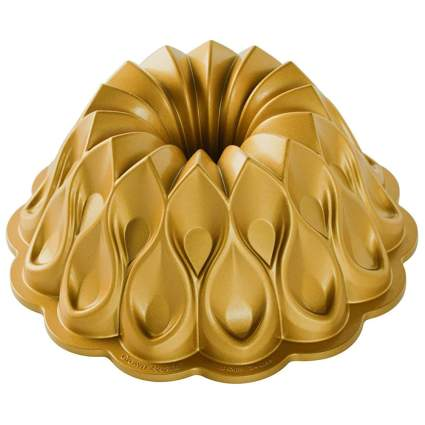 Gold intricate patterned nordic ware bundt pan